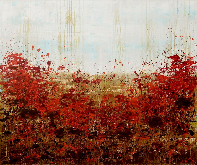 "In Bloom - 40x48"", red, brown and sky blue botanical abstract floral landscape on canvas - Image 0"