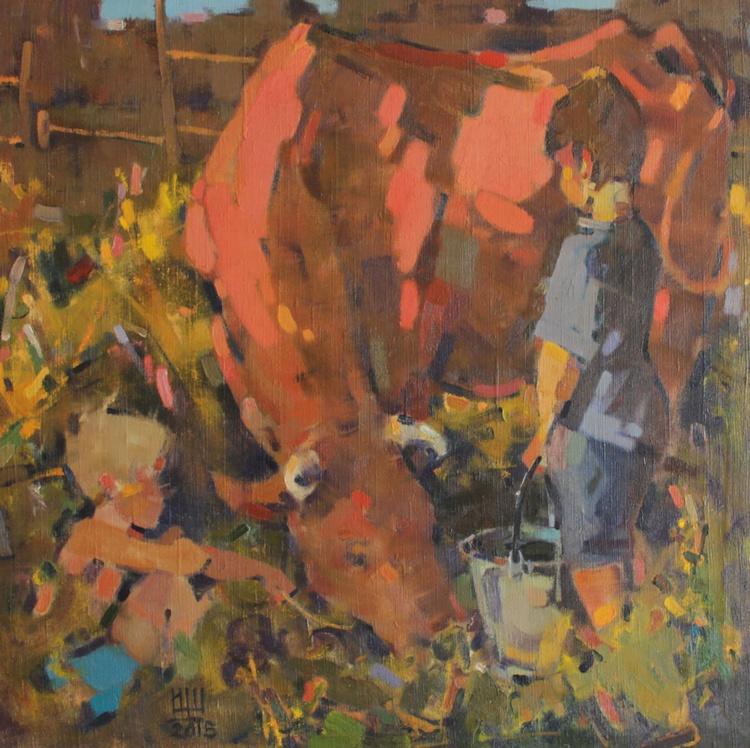 In the village. 2014. oil on canvas. 75х75cm. - Image 0