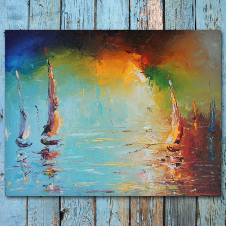 sailboats by sunset, oil painting on board, free shipping - Image 0