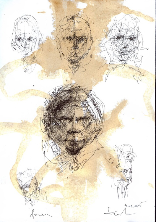 Spontane faces drawings Travelers Human face expresivity MASTER OVIDIU KLOSKA special OFFER - Image 0