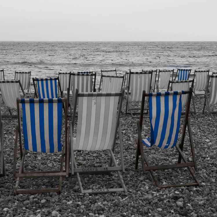 Blue deckchairs.