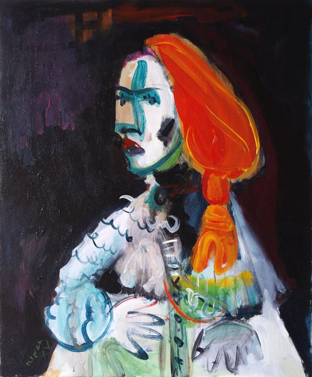 """Knight with orange hair (VI/ from my """"Hommage à Picasso"""" series) - Image 0"""