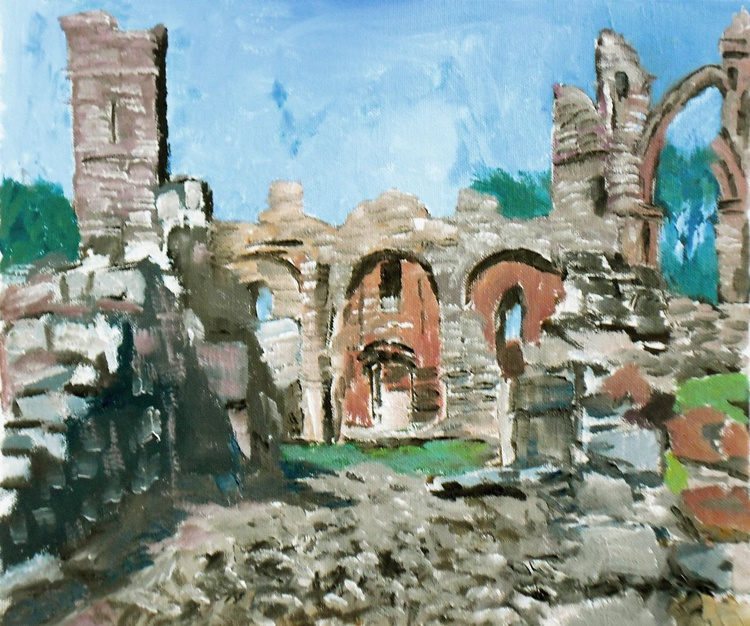 Ruins of Lindisfarne Abbey, Northumberland. A special place. Original Oil Painting on board. - Image 0