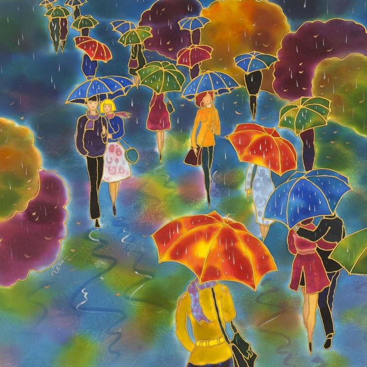 Falling Leaves. Romantic Umbrellas. - Image 0