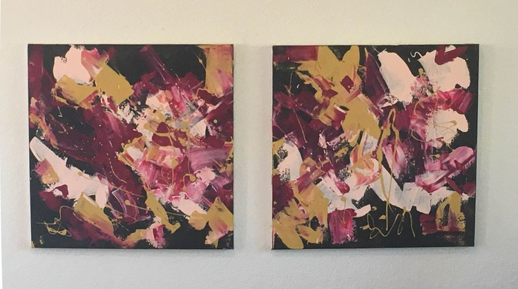 """I NEVER PROMISED YOU A ROSE GARDEN - diptych 20"""" x 40"""" - Image 0"""