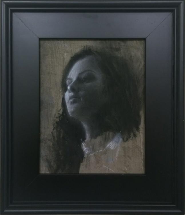 Soft Light Black and White Charcoal Portrait - Image 0