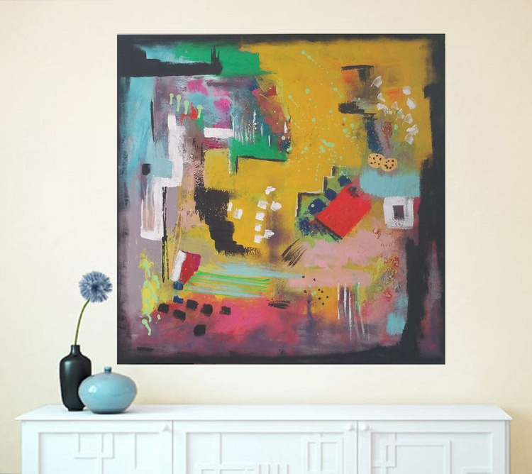 "31,5x31,5""(80x80cm), Our Life, Landscape Modern Urban Art Office Art decor Home Decor - Image 0"