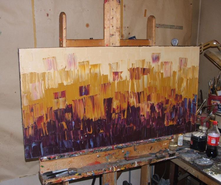 "Palette knife Original Large Abstract Modern Art Oil Painting Michel Campeau 24""x48"" Michel Campeau - Image 0"