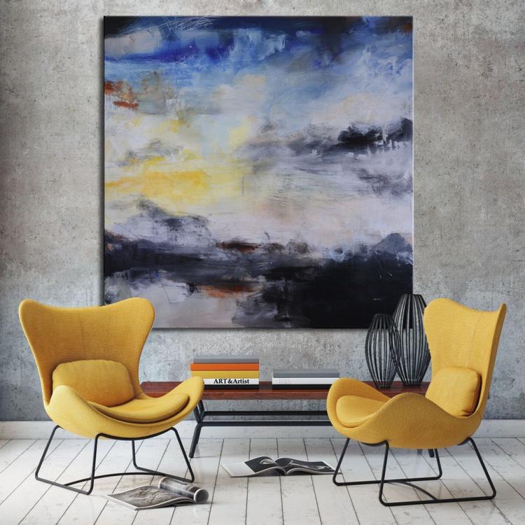 Skyline Sunset Hike - Original blue and black painting - Image 0