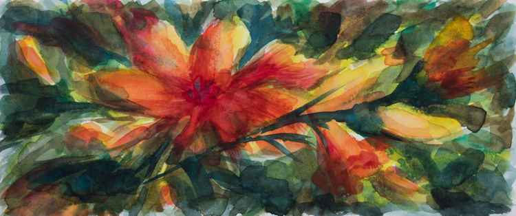 Flower and flower buds - small size - watercolor on paper - 10,5X24,5 cm