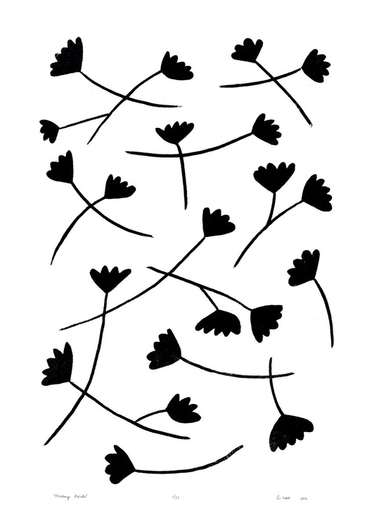 Floating Petals in Black on White - Unframed - FREE Worldwide Delivery - Image 0