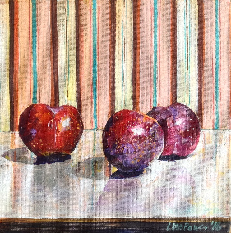 Three Plums with a striped background - still life - Image 0