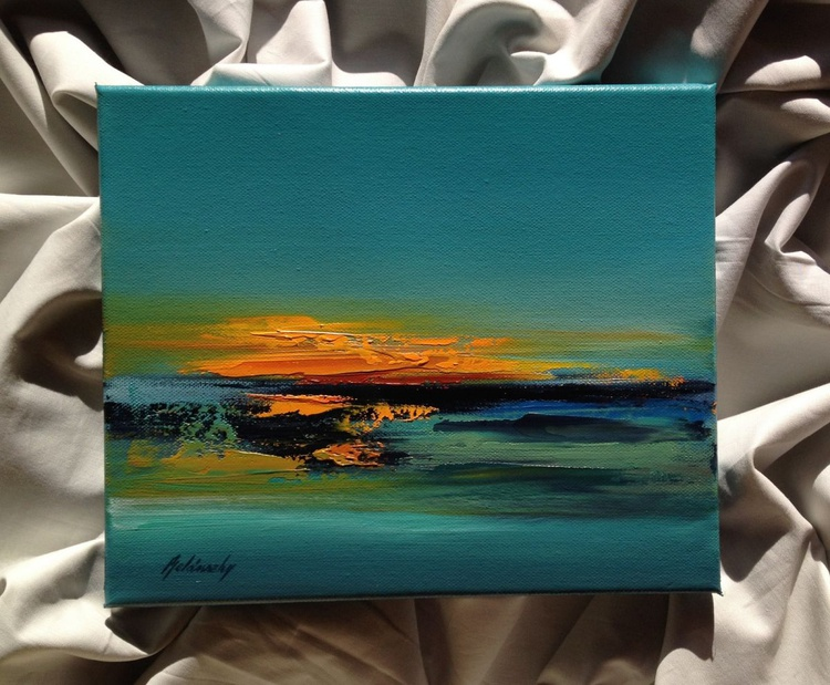 Last sunbeams #2 - 25 x 30 cm, turquoise, red, orange, grey abstract landscape - Image 0