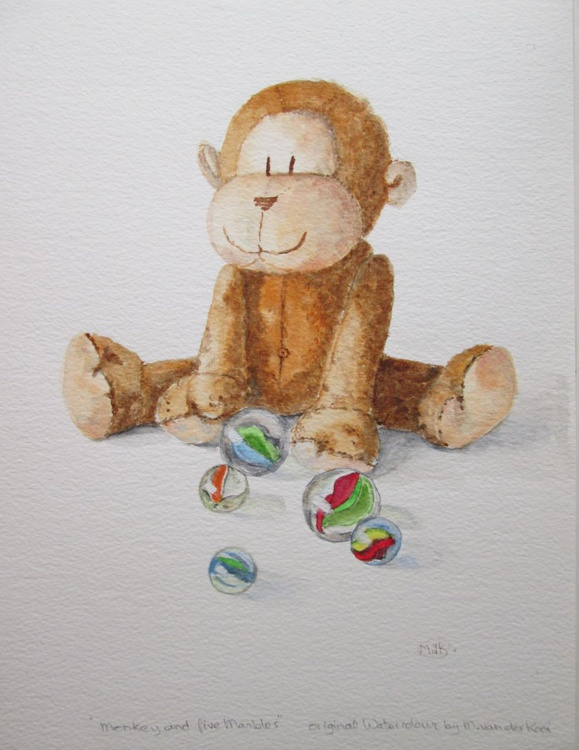 """""""MONKEY AND FIVE MARBLES"""", Primate, Ape, Monkey, Toys - Image 0"""