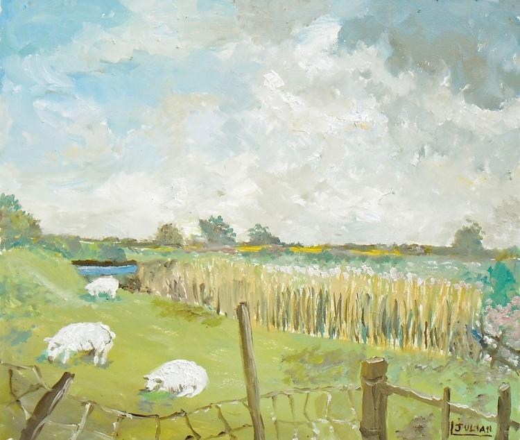"Grazing at Boltophs Lane, Romney Marsh - An original Oil Painting 12"" x 10"" in a hardwood frame! - Image 0"