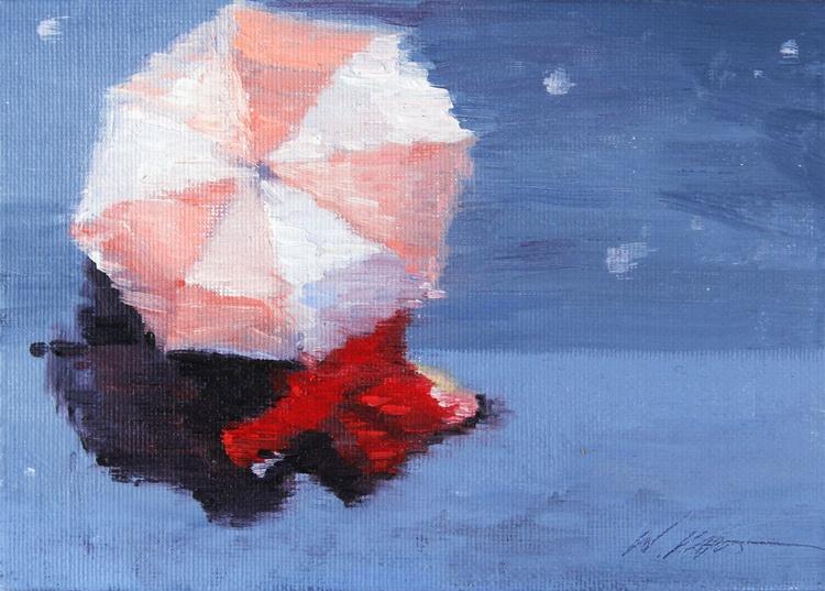 Woman in Red Coat Under Umbrella in Paris - Image 0