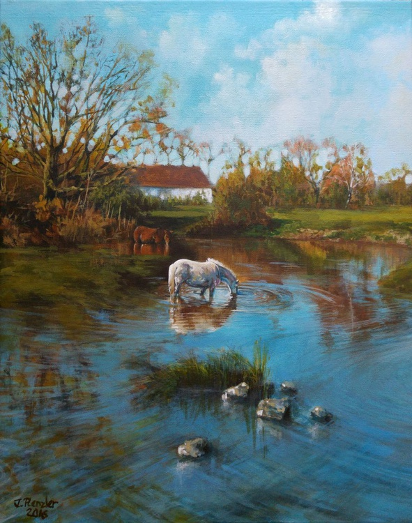 Horses by the river bank - Image 0