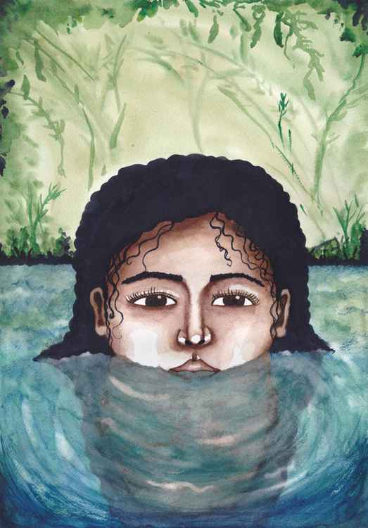 Bathing In The Morning Light Original Watercolor Painting -
