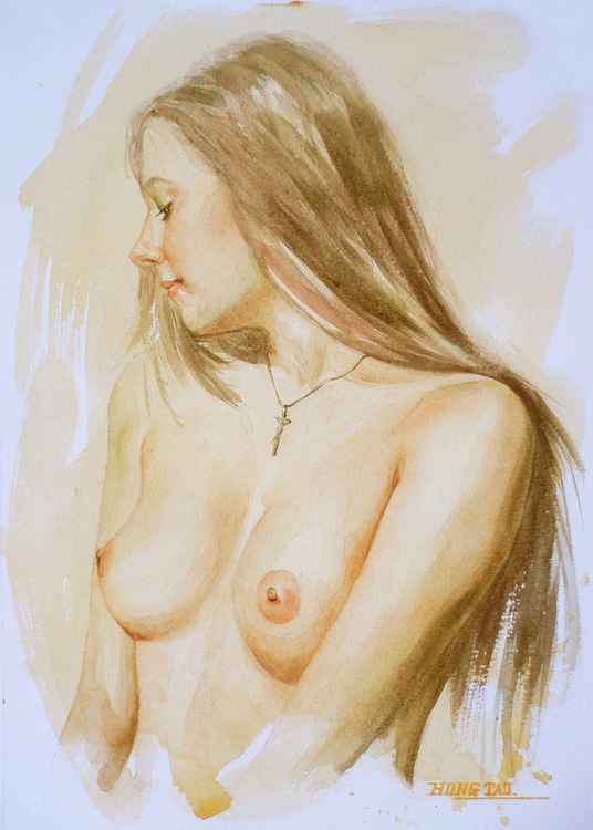 original art watercolour painting  female nude sexy girl on paper #16-3-29-01 -