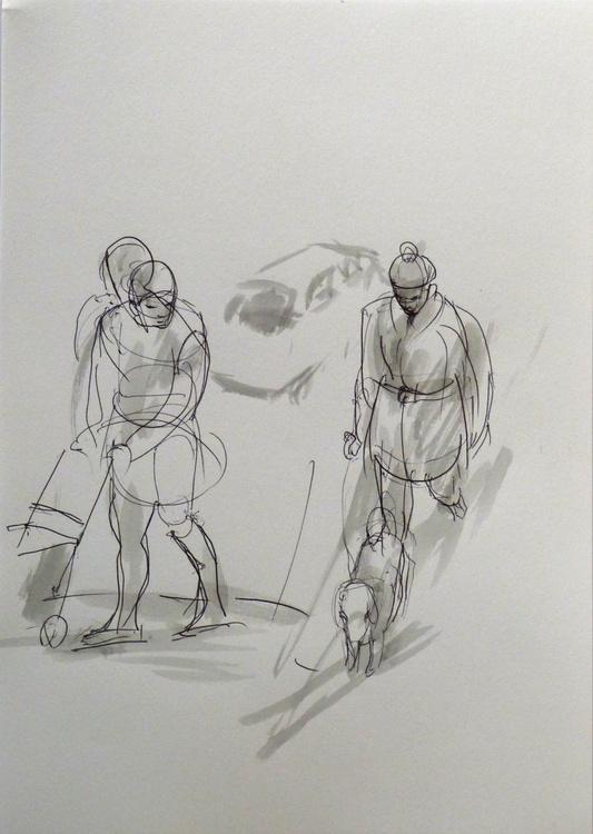 Walking a dog, City Sketch #4, Paris, Montmartre 21x15 cm - Image 0