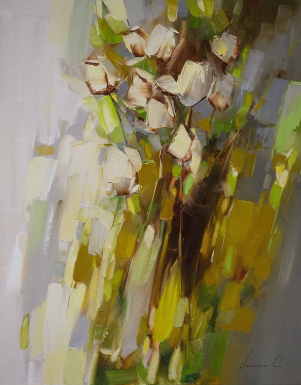 Roses Handmade oil painting Abstract Contemporary - Image 0