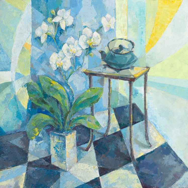 Still Life with Orchids and a Teapot -