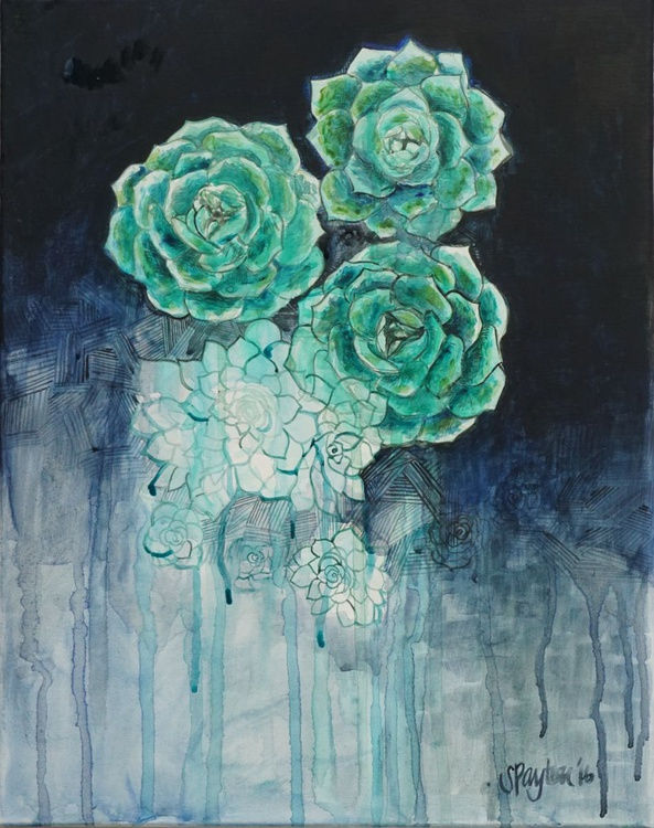 Abstract Succulent Acrylic Painting 2016 - Image 0