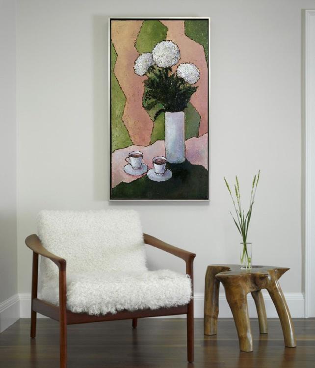 Painting White chrysanthemums, 50x90 cm , original art, FREE SHIPPING - Image 0