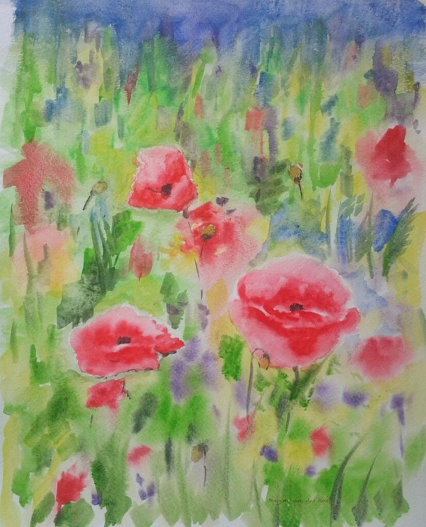 """""""Poppies"""", watercolour - Image 0"""