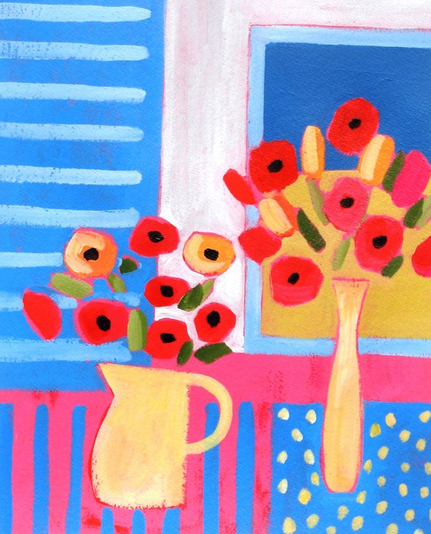 Two vases of Poppies - Image 0
