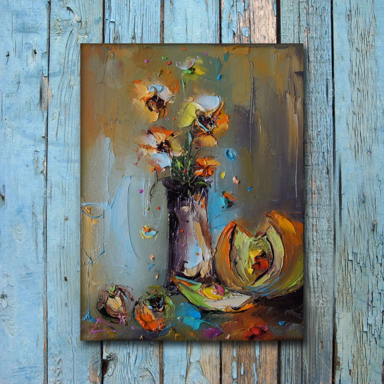 Summer composition, Modern still life, Oil painting on canvas, free shipping - Image 0
