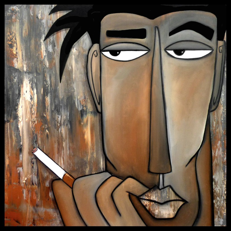 Think Again - Original Abstract painting Modern pop folk faces Contemporary Art by Fidostudio - Image 0