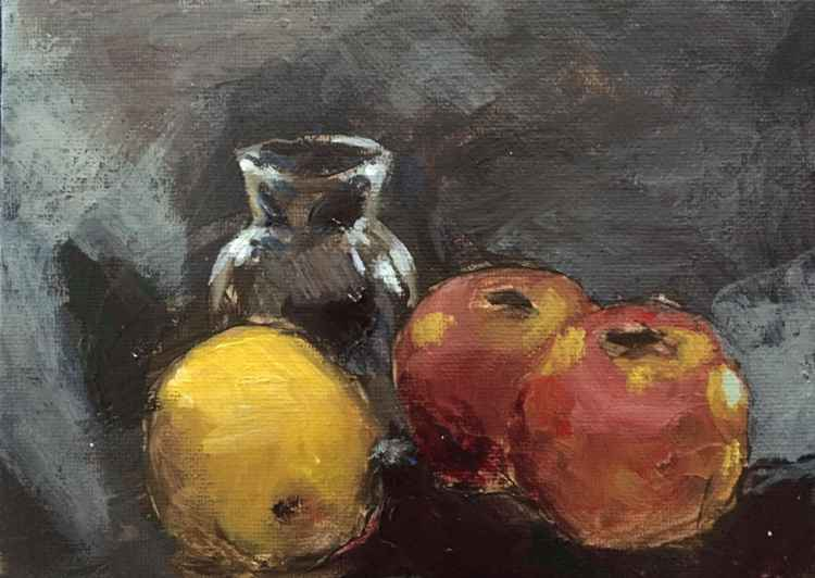Two Apples, a Lemon and a Jar -