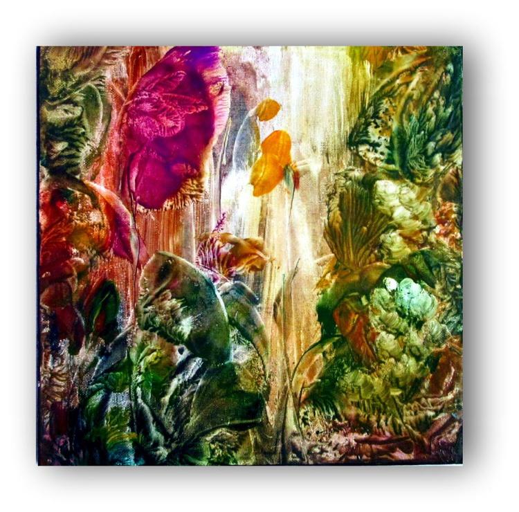 Encaustic Hot/Wax Floral Painting - Image 0