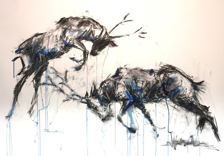 'Rutting Stags', Large format framed charcoal drawing/painting Indian Ink - Image 0