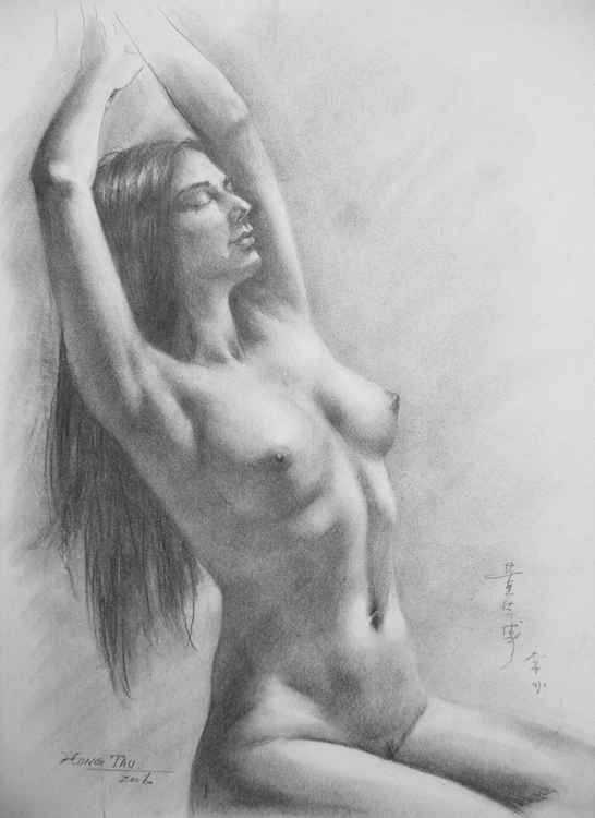 original drawing sketch artwork naked nude girl on paper #16-3-24