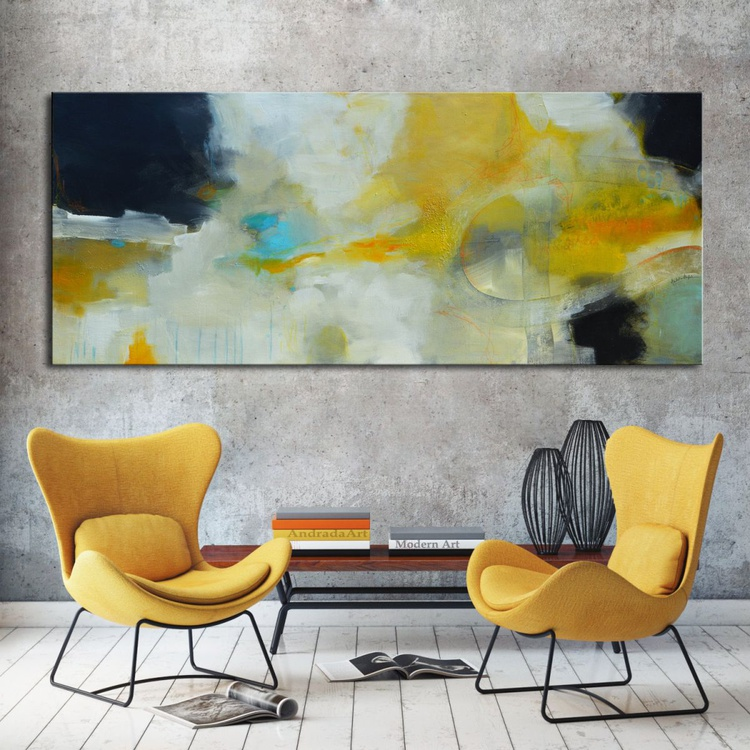 Blue Hole , 72x30, Yellow and blue Abstract Painting ready to hang - Image 0
