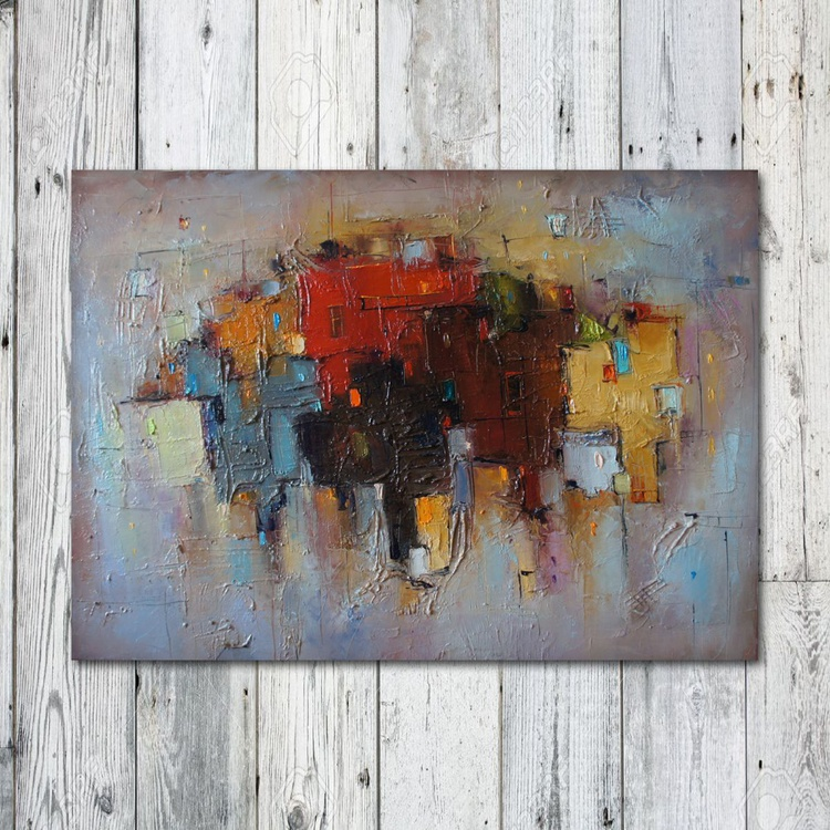 Urban Legends - 3, Abstract  City painting, free shipping - Image 0