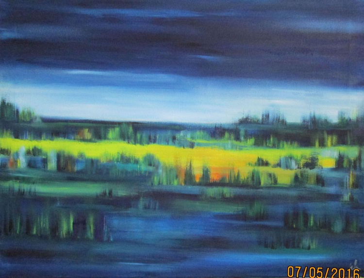Landscape, blue with green grasses - Image 0