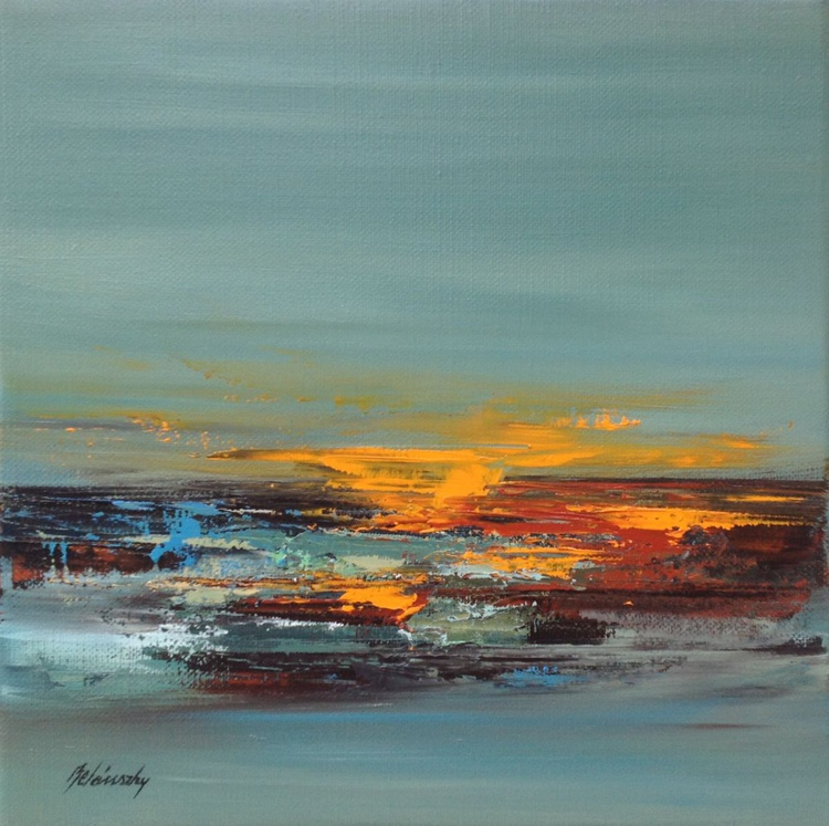 Staccato - 30 x 30 cm, gray, brown, red orange abstract landscape oil painting - Image 0