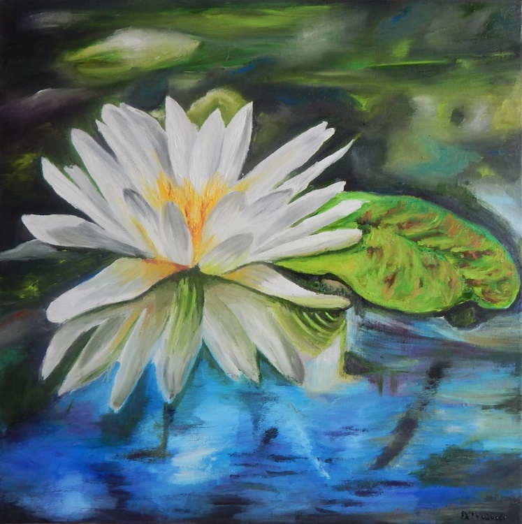 """""""Water impression-water lily""""-original oil painting home decor wall art ready to hang - Image 0"""
