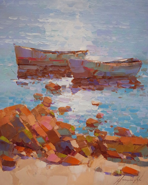 Fishing Boats, Original oil painting, Handmade artwork, One of a kind, Signed with Certificate of Authenticity - Image 0