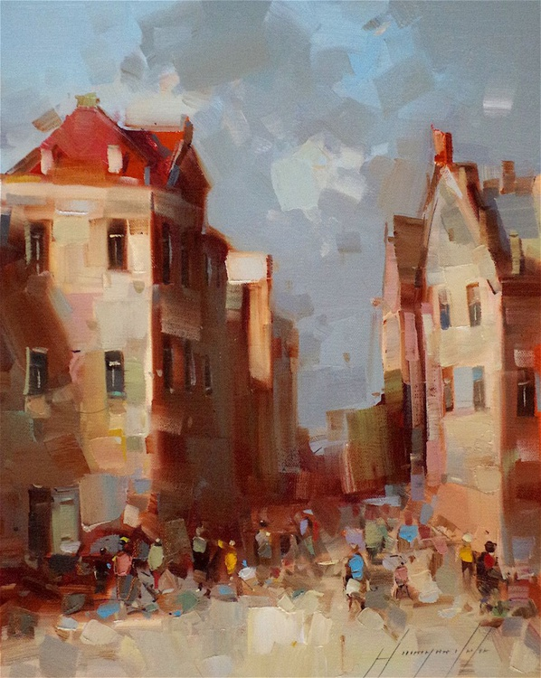 Cityscape, Antique Century, Original oil painting  Handmade artwork One of a kind, Signed - Image 0