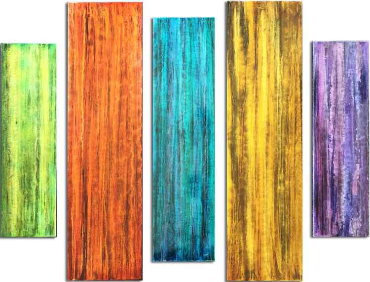 Colorful Wall Accent 'Spectrum Panels' Multi- Color Wall Art | Multi-panel Bright Crisp Colored Metal Artwork by Nicholas Yust -