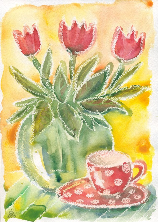 Morning Cup Of Tea With Red Tulips - Image 0