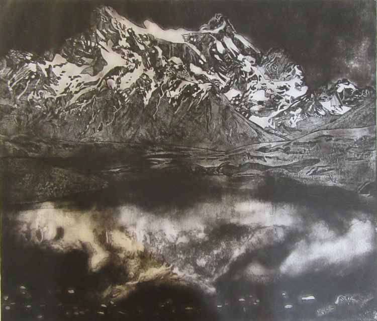 View of Cerro Paine Grande Across The Lake (Monochrome) -
