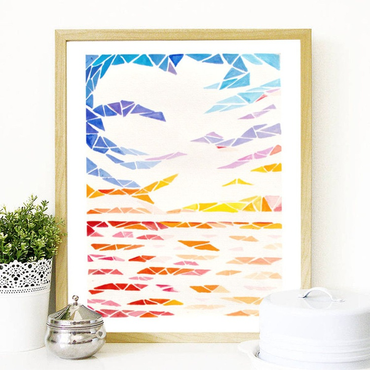 Geometric Abstract Sunset Painting - Acrylic on Canvas Paper - Image 0