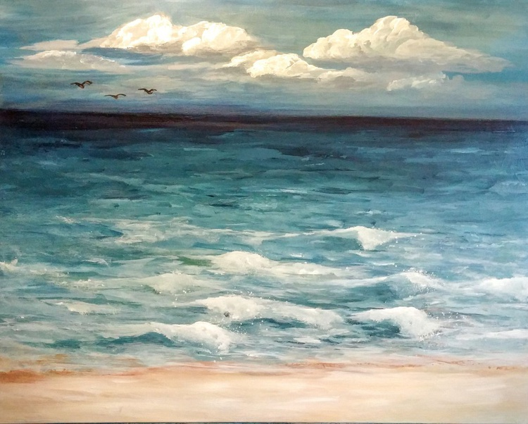 """One Fine Day // Seascape Painting // 24x30"""" Canvas - Image 0"""