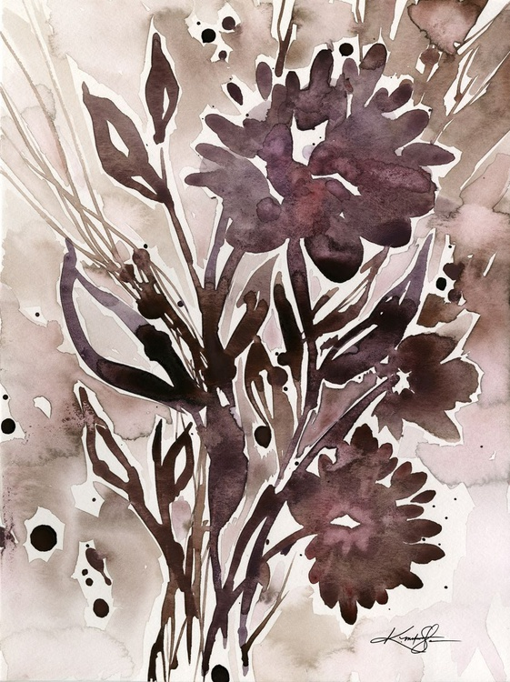 Organic Impressions No. 115 - Flower Watercolor Painting - Image 0