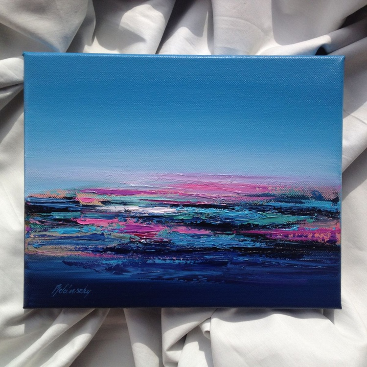 A Little More Purple #2 - 24 x 30 cm abstract landscape oil painting, blue, turquoise, purple - Image 0